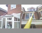 Very high difficult to access attic windows as well as windows above conservatories and extensions can be easily reached without any damage to roof slates or tiles and complying with health and safety regulations since we do not use ladders.